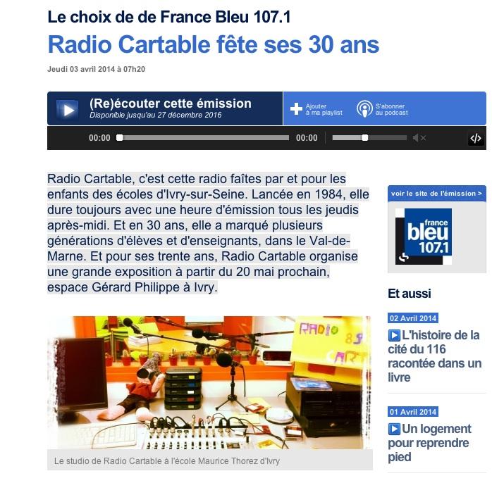 Premier reportage cette année sur France Bleu annonçant l'anniversaire de notre radio scolaire qui fêtera très prochainement ses trente ans d'existence avec une exposition à l'Espace Gérard Philipe du 20 ami au 8 août 2014 !